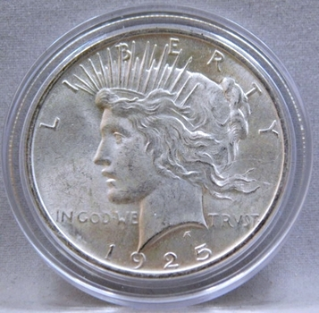 1925 Peace Silver Dollar - Excellent Detail and Luster on a High Grade Coin - Philadelphia Minted - In Protective Capsule