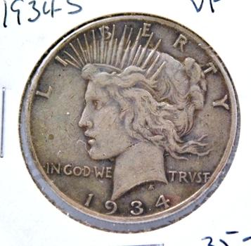 SCARCE DATE 1934-S Silver Peace Dollar - San Francisco Minted
