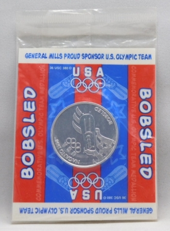 USA Olympics Bobsled & Downhill Skiing Coins-Original General Mills Proud Sponsor US Olympic Team