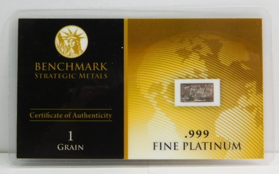 1 Grain of .999 Fine Platinum Bar - Benchmark Strategic Metals with Certificate of Authenticity