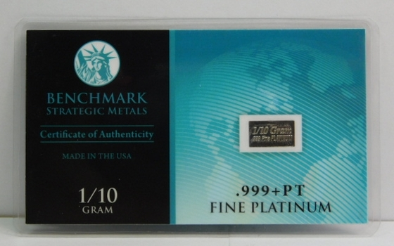 1/10 Gram of .999+ PT Fine Platinum Bar - Benchmark Strategic Metals with Certificate of Authenticity