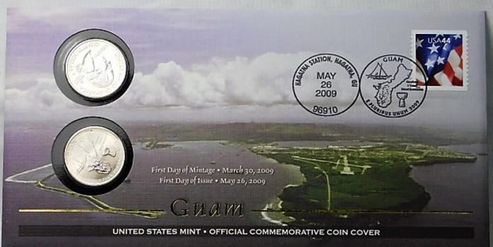 2009 P & D Uncircullated Guam Commemorative Quarters and FDC