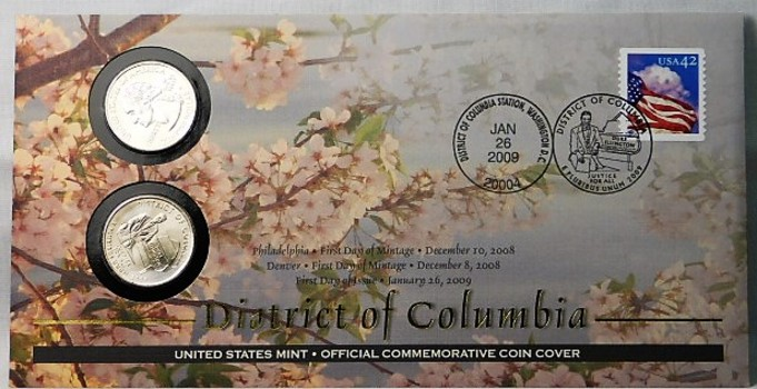 2009 P & D Uncirculated District of Columbia Quarters and FDC