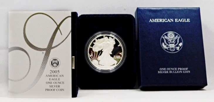 2005-W Proof American Silver Eagle - 1 oz .999 Fine Silver - In Original West Point Mint Velvet Gift Box with Cover Box