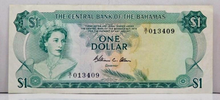 1974 Bahamas One Dollar Crisp Banknote