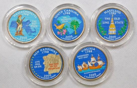 2000 Colorized Statehood Quarters Maryland, Massachusetts, South Carolina, Virginia, New Hampshire 5 Colorized Quarters