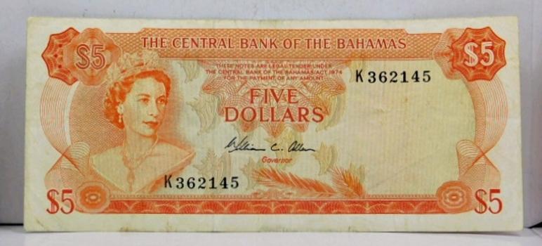 1974 Bahamas Five Dollar Crisp Banknote
