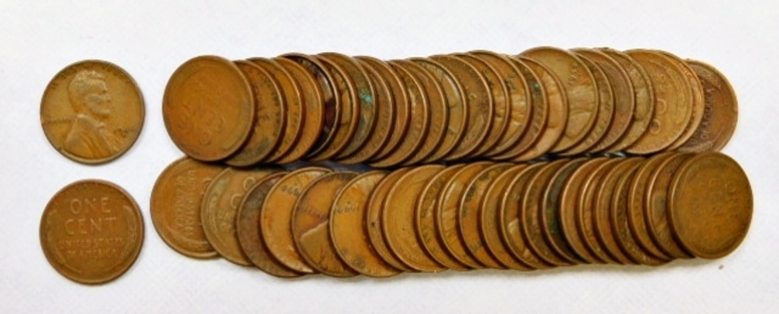 Lot Of 50 Lincoln Wheat Cents