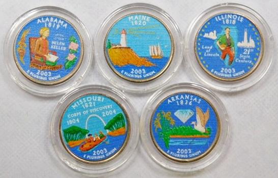 2003 Colorized Statehood Quarters Maine, Illinois, Arkansas, Missouri, Alabama 5 Colorized Quarters