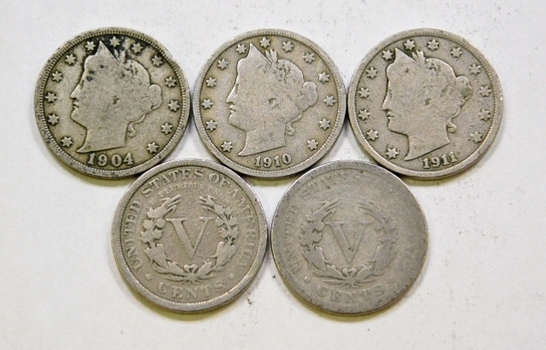 Lot Of Five Liberty V Nickels 1902 1904 1907 1910 1911
