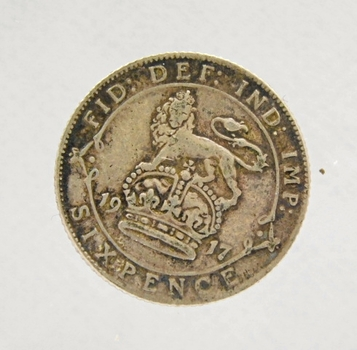 1917 Great Britain Silver Six Pence