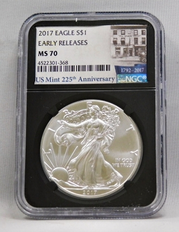 2017 Silver Eagle Graded MS 70 By NGC In U.S. Mint 225th Anniversary Holder