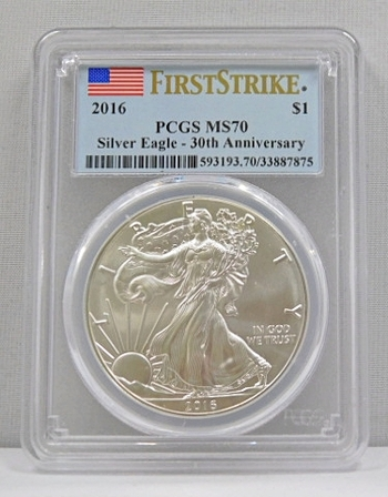 2016 First Strike Silver Eagle 30th Anniversary Graded MS 70 By PCGS