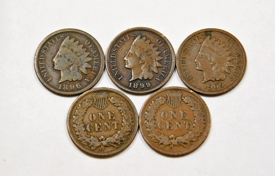 Lot Of Five Indian Head Pennies 1896 1899 1906 1907 1909