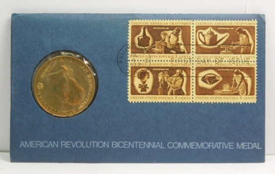 American Revolution Bicentennial Bronze Medal/Coin - Sons of Liberty - Four 8c Stamps Included on FDC