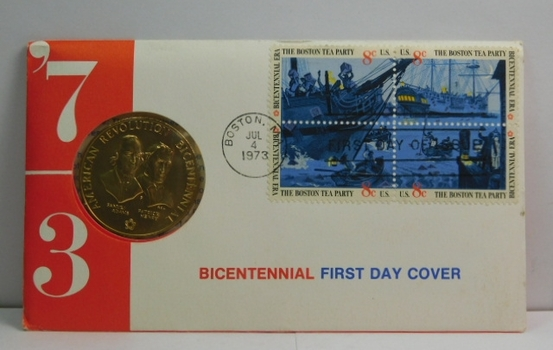 1973 Bicentennial First Day Cover - Bronze Medal with Samuel Adams and Patrick Henry - 4 Stamps Commemorating the Boston Tea Party