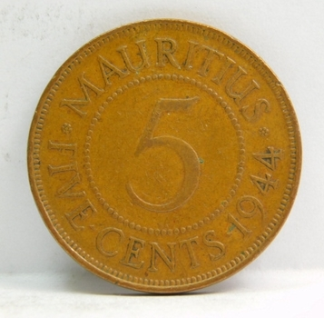 1944 Mauritius 5 Cents