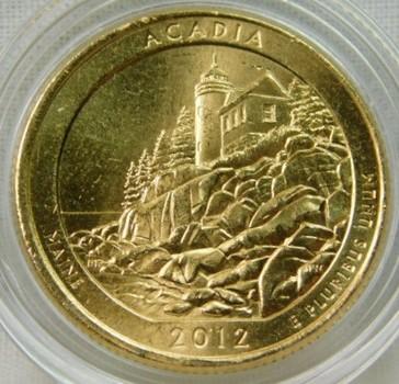 2012-P 24K Gold-Layered Acadia National Parks Quarter - In Plastic Capsule