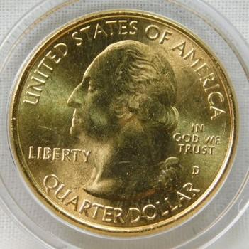 2013-D 24K Gold-Layered Mount Rushmore, South Dakota National Parks Quarter - In Plastic Capsule
