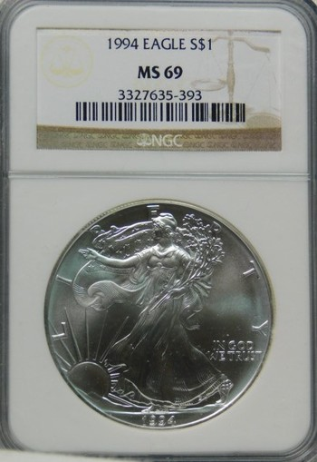 1994 NGC Graded MS69 SILVER EAGLE - Nice White