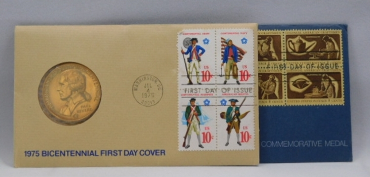 (2) Bicentennial First Day Cover (FDC) Medals-(1) Son's Of Liberty & (1) Paul Revere-Both Come With Original FDC Envelopes & Stamps!