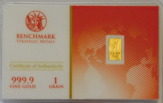 1 Grain 999.9 Fine Gold Bar - Benchmark Precious Metals w/ Certificate of Authenticity