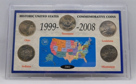 (5) Historic United States Coins 1999-2008 Holder- Five Beautiful Uncirculated State Quarters-Custom Presentation Holder!