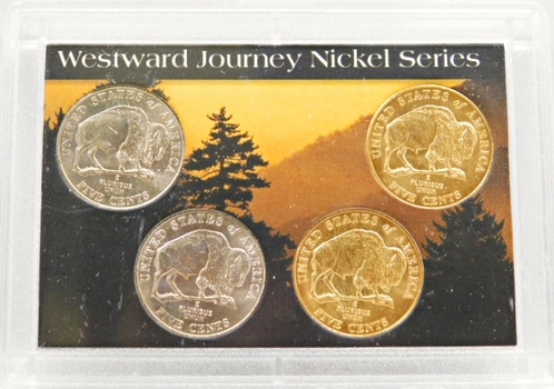 2005-P And D Buffalo Two Are 24k Gold Plated And Two Uncirculated 5 Cent Coins Westward Journey Nickel Series