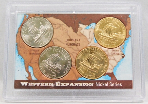 2004-P And D Keelboat Two Are 24k Gold Plated And Two Uncirculated 5 Cent Coins Westward Journey Nickel Series