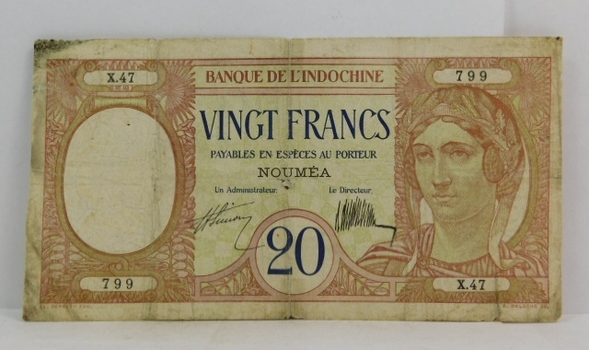 1929 New Caledonia 20 Franks Old Banknote