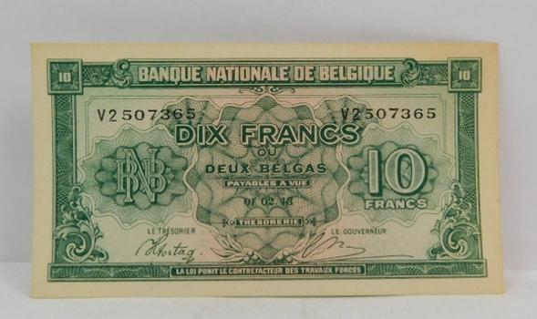 1943 Belgium 10 Franks Crisp And Uncirculated Banknote