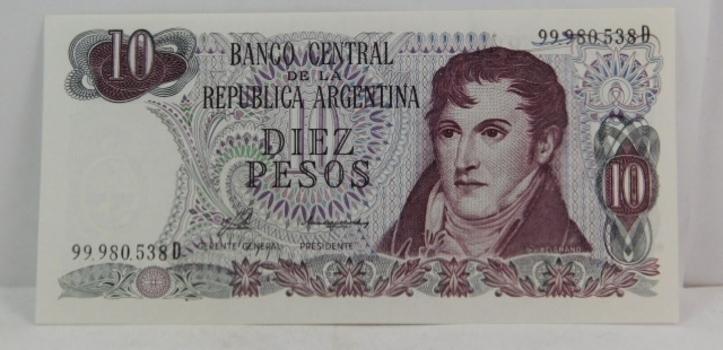 1973 Argentina 10 Pesos Crisp And Uncirculated Banknote