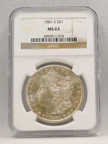 1881-S Morgan Silver Dollar NGC Graded MS 63