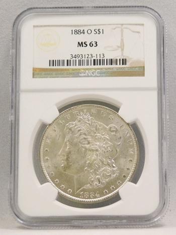 1884-O Morgan Silver Dollar NGC Graded MS 63