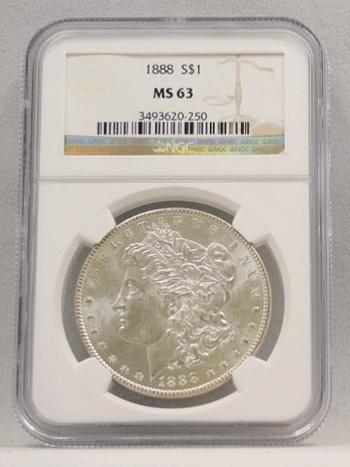 1888 Morgan Silver Dollar NGC Graded MS 63
