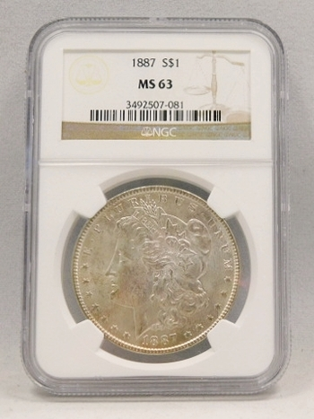 1887 Morgan Silver Dollar NGC Graded MS 63