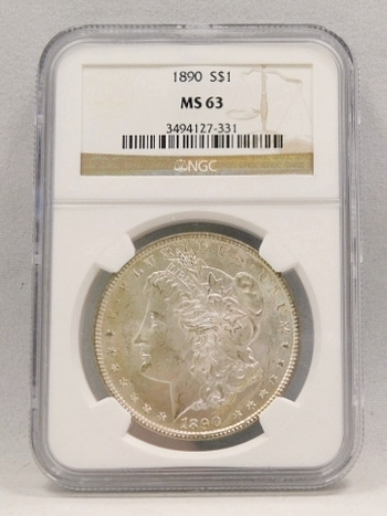 1890 Morgan Silver Dollar NGC Graded MS 63
