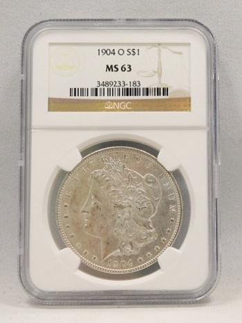 1904-O Morgan Silver Dollar NGC Graded MS 63
