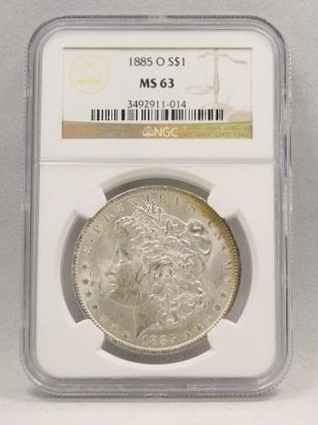 1885-O Morgan Silver Dollar NGC Graded MS 63
