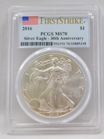 2016 $1 American Silver Eagle - 30th Anniversary of the Silver Eagle - FIRST STRIKE - PCGS GRADED MS70