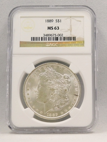 1889 Morgan Silver Dollar NGC Graded MS 63