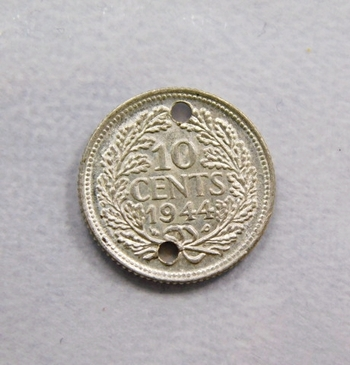 1944 Netherlands Silver 10 Cents