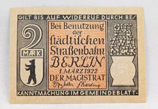 1922 Germany 2 Mark Notgeld - High Grade Crisp Uncirculated