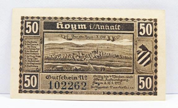 1921 Germany 50 Mark Notgeld - High Grade Crisp Uncirculated