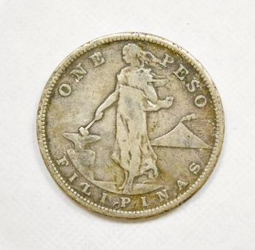 1907-S Philippines Silver Peso 90% Silver