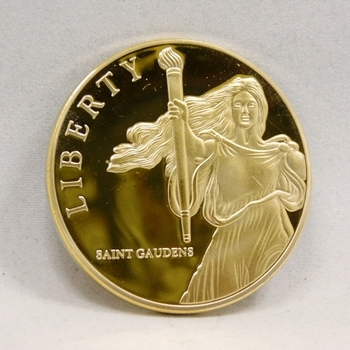 "24 K Gold Layered St. Gaudens One Dollar Replica - 1.5"" Diameter"