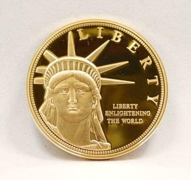 "24K Gold Layered Statue of Liberty Medallion - 1.5"" Diameter"