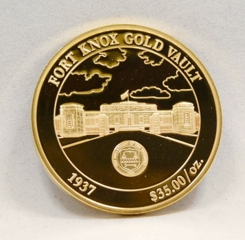 24K Layered Gold 2010 Proof Medallion - 40 mm in Diameter - Fort Knox Gold Vault