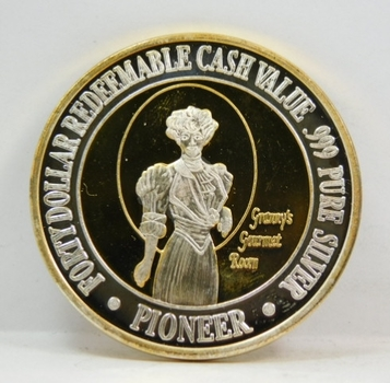 Silver Strike - Over 1.5 oz of .999 Fine Silver  Layered with 24K Gold - Pioneer Hotel and Gambling Hall - The City of Entertainment - $40 Redeemable Cash Value  - Laughlin, Nevada