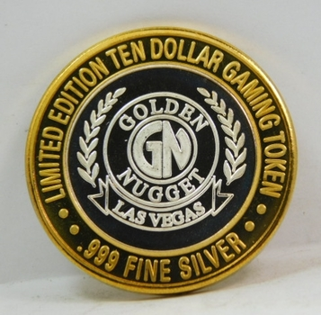 Silver Strike - .999 Fine Silver - Golden Nugget - Limited Edition $10 Gaming Token  - Las Vegas, Nevada - Plastic Capsule is Cracked